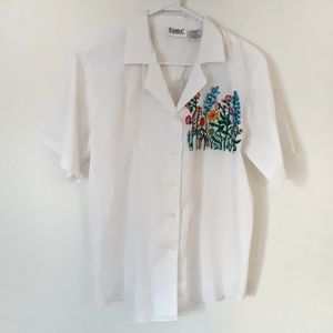 White Button Down with Floral Embroidery